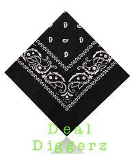 Cotton Paisley Bandana Bandeau Head Wear Tie Wrap bande écharpe cou noir