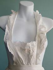 Vintage Victorian / Edwardian Bibbed White Cotton Apron with eyelet ruffles
