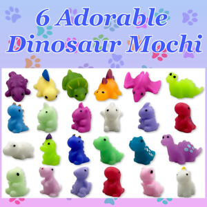 Mochi Squishy Toys 6 DINOSAURS! SET OF 6 New T Rex Triceratops Discount 2+ 🦕 🦖