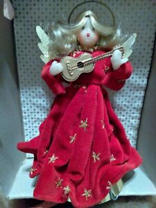 Vintage 1950s  Wax Angel Christmas Tree Topper Red Velvet Western Germany Box