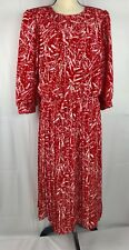 Breli Originals Vintage Woman's  White red Floral Dress Pleated Size 18 USA