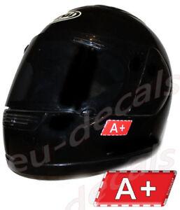 Helmet A+ Blood Type Warning Unscratchable 3D Decal Car Bike GoKart sticker safe