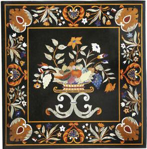 "24"" Black Marble Table Top Pietra Dura Semi Precious Stone Handmade Home Decor"