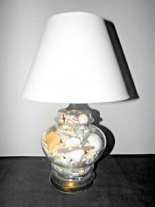 """LAMP A VINTAGE 16""""H SEASHELL FILLED GLASS GINGER JAR  NIGHTSTAND LAMP w/ SHADE"""