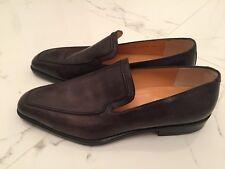 New Tanino Crisci Italy Handmade Black Gray Grey Mens Shoes Loafers. Size 10.5 M