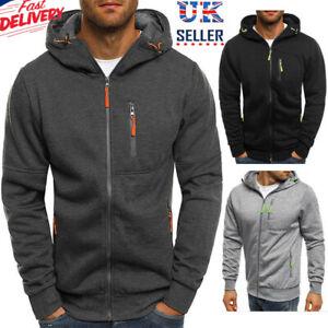 Mens Zip-Up Hoodie Jacket Sweatshirt Hooded Pocket Casual Sports Coat Top Jumper