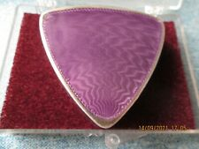 More details for sunning antique silver & purple agate table box 1913 triangle shaped