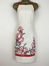 Karen Millen Vestido Blanco Rojo Floral cinta Bordado Cóctel Lápiz Size UK 8