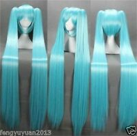 Vocaloid Hatsune Miku + 2 Ponytails Blue Cosplay Anime Long Wig 120cm+gift