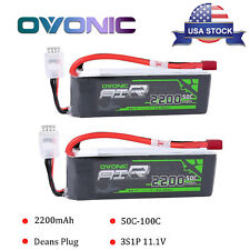 Two 2200mAh 3S 11.1V 50C-100C RC Lipo Battery Deans Plug For Helicopter Airplane