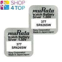 2 MURATA 377 SR626SW BATTERIES SILVER OXIDE 1.55V WATCH BATTERY ED 2022 SONY NEW