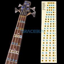4 cuerdas de guitarra Bajo Diapasón Notas Mapa Traste Pegatina Etiquetas Aprende