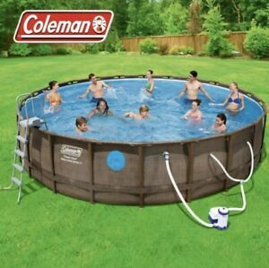 "Coleman 18' x 48"" Power Steel Swim Vista Series II Swimming Pool Set NEW In Hand"