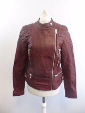 Jack Wills Habbick Leather Jacket Oxblood Size UK 10 RRP £298 Box46 41 Q