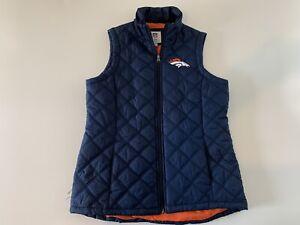 Denver Broncos Navy Blue Full Zip Poly Filled Vest Size L NFL Stitched