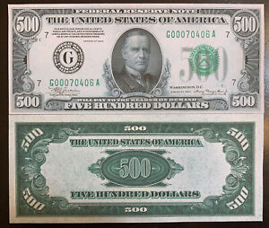 Reproduction 1934 $500 Bill Federal Reserve Note Chicago Currency Copy USA