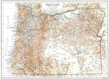 OREGON. OREGON State Carta che mostra le provincie 1910 vecchio piano ANTICO grafico