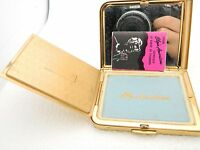 Vintage Elgin American Make-Up Powder Compact Mirror Gold Tone Etched Flowers
