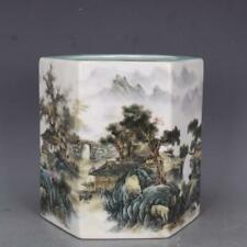 "8"" Old Porcelain qian long Yellow famille rose landscape Hexagon brush wash"