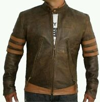 X-MEN 1 Wolverine Origins Logan Biker Real Leather Jacket - Sizes S M L XL  xxl