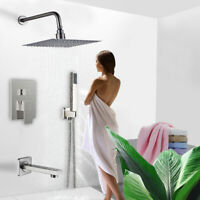 Shower Faucet System Combo Set 10 inch Rainfall Hand Shower Tub Spout Mixer Tap