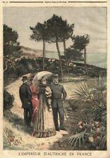 Sisi, Sissi, Franz Joseph, Kaiser par, Cap Martin francia farbholzstich 1894