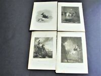 The Young Wife, Death + others- 1800s Original Engraving Set Of (4) Prints.