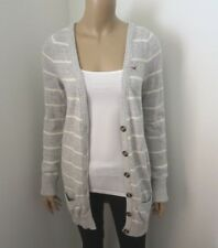 Hollister Womens Striped Cardigan Size Large Sweater Light Gray & White
