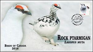 CA16-028, 2016, FDC, Birds of Canada, Rock Ptarmigan