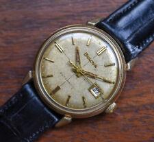Vintage BULOVA Automatic Cross Hair Dial Date 10k RGP Men's Watch Alligator Band