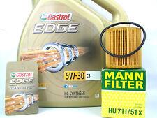 5Liter Castrol Edge Cambio Aceite Kit C3 5W-30 de Motor+Filtro Mann HU711/51X