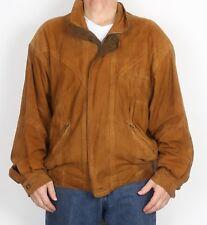 "Suede Bomber Jacket Coat Large XL 44"" Brown (75G)"