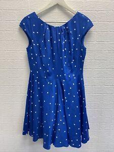 Boden blue polka dot swing dress uk 12 ladies fashion clothing