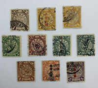 #2 CHINA COILING DRAGONS STAMP LOT OF 10 DIFFERENT SOME SUNG KAI OVERPRINTS