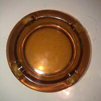 Vintage MCM Burnt Orange Round Glass Cigar Ashtray 6 inches