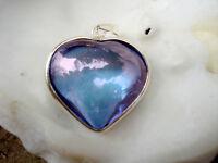Heart Silver Pendant inTanzanite Lavender Aura Quartz-Renew Regenrate Energy!