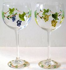 HAND-PAINTED  FLORAL WINE, WATER,  JUICE GOBLETS  DRINKING GLASSES BAR WARE