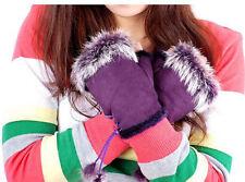 Women's Winter Real Rabbit Fur Hand Wrist Warmer Fingerless Gloves 12 colors