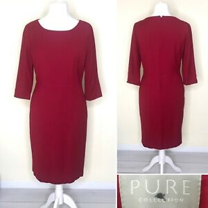 Pure Collection Red Dress UK 16 Pencil 3/4 Sleeve Wool Blend Midi Lined Formal