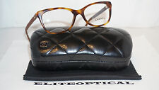 New Authentic CHANEL RX Eyeglasses Havana Leather 3288-Q C.1295 51 17 140