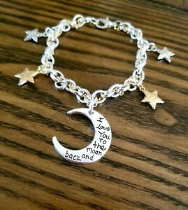 Two Tone Charm Bracelet, Love You Moon Jewelry, Stars Jewelry, Mothers Day Gift