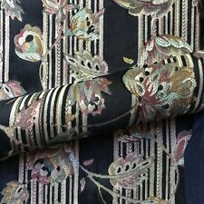 "Black Eclectic Floral Cut Velvet Jacquard Upholstery Fabric 54"""