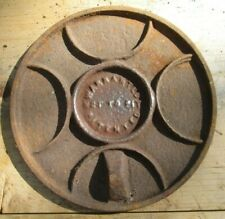 """ANTIQUE CAST IRON 8 1/8"""" WOOD COOK STOVE BURNER LID COVER PLATE GRATE"""