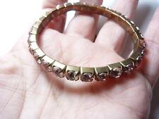 Vintage Gold Tone Metal Lavender Plastic Rhinestone Stretchy Bracelet