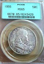 1955 Franklin silver half dollar PCGS MS65 TONED.