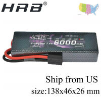 HRB Lipo 2S 7.4V 6000MAH 60C 120C TRX plug RC Battery Hard Case For 1/10 Traxxas