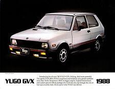 1988 Yugo GVX  2 side Car Brochure   Rare Hard to Find