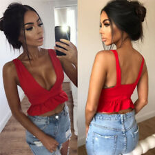 Womens Ruffle Frill Hem Plunged Neck Ladies Sleeveless Crop Top Vest Top UK 6-14