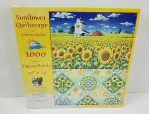 """Sunsout by Rebecca Barker sunflower quiltscape 1000 piece Jigsaw puzzle 20""""x27"""""""
