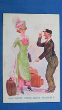 Vintage Comic Postcard 1910s Suffragette Fashion Harem Trousers Railway Porter